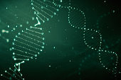 DNA rotation from hexadecimal code 3d illustration