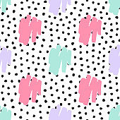 Vector seamless trendy messy geometric and polka dot pattern. Modern ink brush elements background. Great for print, wrapping paper, wallpaper