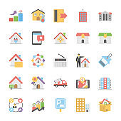 Real Estate Flat Vector Icons