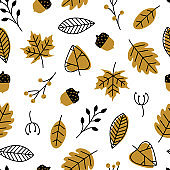 Vector seamless pattern with doodle leaves, acorns. Modern autumn seasonal decor. Flower graphic design