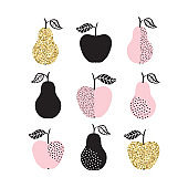 Vector set with apples and pears in gold glitter and pastel colors. Trendy Scandinavian design for greeting cards, posters, fashion prints.