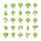 Trees Flat Colored Icons