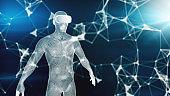 Digital virtual reality on the human hologram,3d illustration