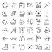 Chirstmas related line style vector icon set, editable outline icon