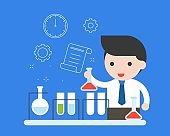 Teacher or businessman experiment research in chemical lab and outline background, education and research concept