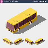 Isometric Icon of Public City Bus. Vector Illustration.