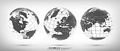 Earth globe set with continents