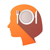 Isolated female head with  a dish, knife and a fork icon