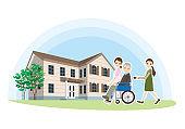 Illustration of care for the elderly
