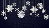 Christmas background with three-dimensional paper snowflakes