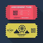 Amusement park ticket card. Element template for graphics design. Vector illustration