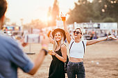 Friends at music festival