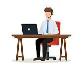 Operator of call center office consulting a client. Happy office worker sitting at desk with laptop computer. Online customer service concept. Vector isolated illustration.