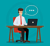 Operator of call center office consulting a client. Online customer service concept. Vector illustration design.