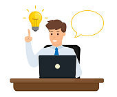 Business character creating new business idea. Vector illustration. Flat design.
