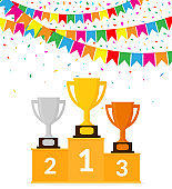 Winners Podium with Trophy Cups. Colorful Garland and Confetti. Victory Celebration. Vector Illustration. Flat Style.