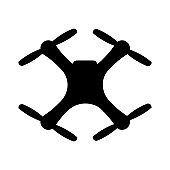 flying quadcopter drone logo, isolated vector illustration