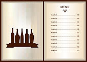 Menu design with wine bottles. Brochure template for restaurant. Wine production design.  Template for promotions or presentations of wine events.