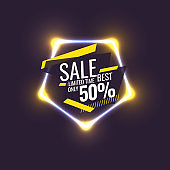 Best sale banner. Original poster for discount. Geometric shapes and neon glow against a dark background