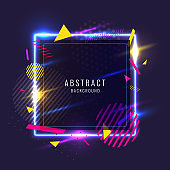 Abstract poster for the placement of text and information. Geometric shapes and neon glow against