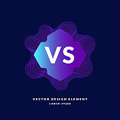 Bright poster symbols of confrontation VS, can be the same logo. Vector illustration