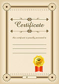 Certificate template. Certificate template in vector for achievement graduation completion. Certificate template with luxury and modern pattern. Vector Illustration EPS10.