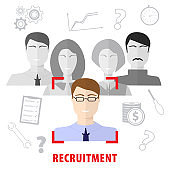 Human resources man woman personnel search selection. Selection of personnel. Recruiting agency, flat design.