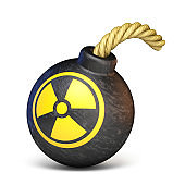 Bomb with the radiation sign 3D