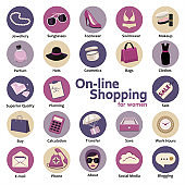 Icons set, on-line shopping for women in the concept of flat design. E-Commerce, Internet, mobile Marketing, vector.