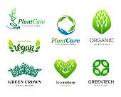 Set of signs. Plant care, eco, organic. Healthy eating and a healthy lifestyle