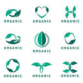Set of vector organic icons. Icons from the leaves. Pharmacy emblem