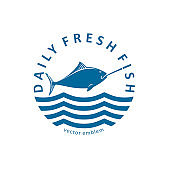 Daily fresh fish - vector design elements.