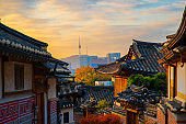 Ancient Korean town in Autumn and morning sunrise