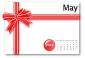 May 2019 - Calendar series with gift ribbon design