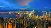 Hong kong skyline from view point of victoria peak