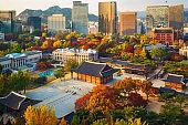 Autumn of Deoksugung royal palace and Seoul City