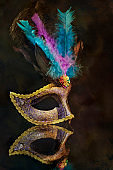 Masquerade venetian carnival mask, female theatrical feathers