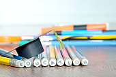 Pencil and Graduation hat ,Educational Equipment Background