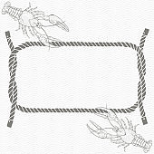Card with frame, marine knots, ropes and crayfish. Vector illustration.