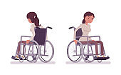 Female young wheelchair user moving manual chair