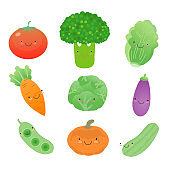 set of Vegetable cartoon icon, Vector illustration
