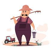 cute farmer cartoon with tractor at his eco organic farm food
