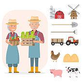 happy farmer family cartoon character in organic rural farm with farm equipment