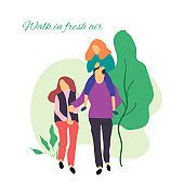 Walk in fresh air. Vector stylized illustration of active young family. Healthy lifestyle.People in the park vector flat illustration