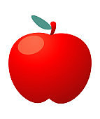 Red apple,vector illustration,apple icon on white background