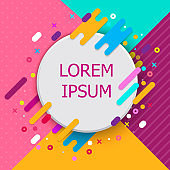 Trendy neon geometric figures wallpaper in a modern material design style. Vector background with paper card and abstract colorful shapes. EPS10