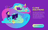 Business infographics with illustrations of business situations. Businessman and businesswoman work with cloud service. Workers sit at the computer and work. New IT technologies. Vector illustration flat design.