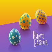 Easter design with colorful realistic eggs.