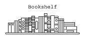 Bookshelf icon. Vector illustration for coloring book.