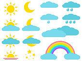 Weather icons: sun, moon, cloud, rain, rainbow. Vector illustration.